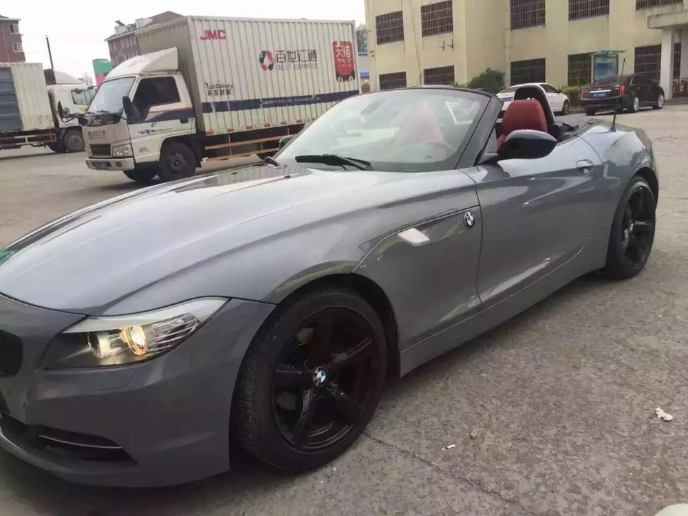 3 Layer Gloss Cement Gray Vinyl Wrap With Super Glossy