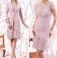 Pink 2017 Mother Of The Bride Dresses Sheath Cap Sleeves Lace Short Wedding Party Dress Mother Dresses For Wedding With Jacket