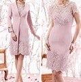 Rosa 2017 Mãe Da Noiva Vestidos Bainha Mangas laço Curto Vestidos de Festa de Casamento Vestido de Mãe Para O Casamento Com jaqueta