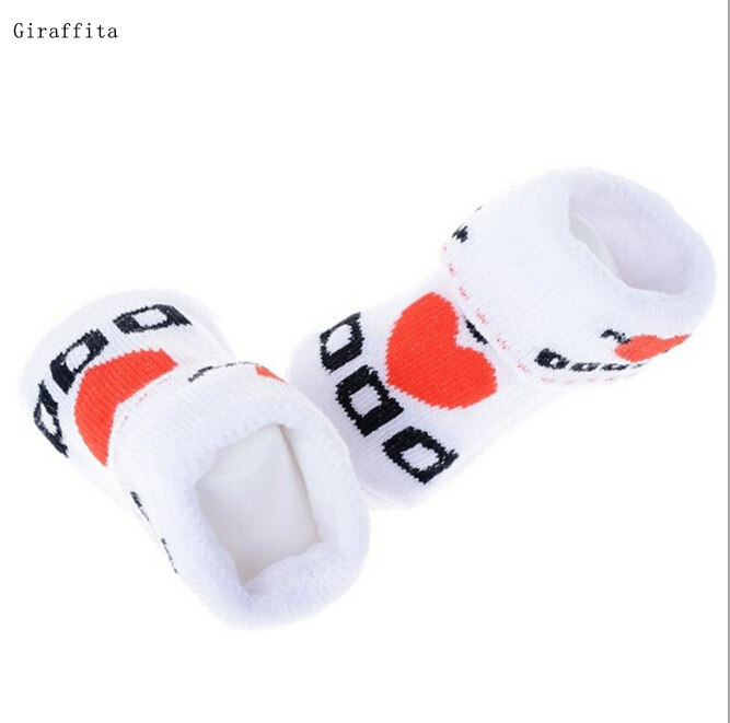 1 Pair Kawaii Cute Soft Newborn Baby Socks Cotton Slip-resistant Floor Socks Love Mom Love Dad Cartoon Socks 0-6 Months
