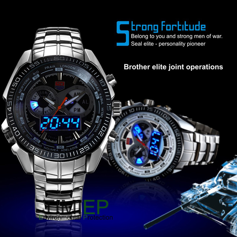 Tvg Mens Fashion Full Steel Quartz Military Sport Watch Men City Hunter Blue Binary Led Pointer 30m Waterproof Watch Pretty Cool Watches
