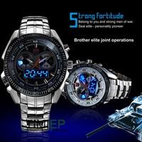 TVG Mens 2019 Hight Quality Full Steel Clock Blue Binary Pointer LED Digital Watch Military Sport Watch Men 30M Waterproof Watch