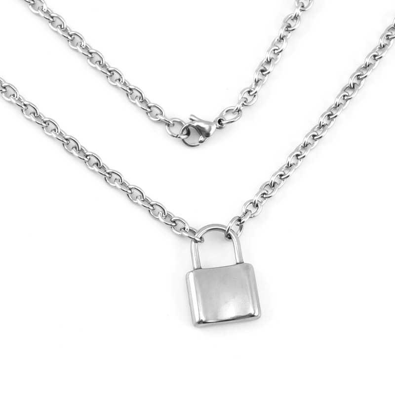 Simsimi mężczyźni biżuteria srebrny kolor blokada naszyjnik Brand new naszyjnik łańcuch Rolo ze stali nierdzewnej