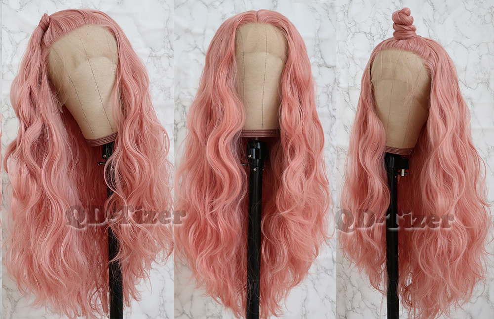 QD-Tizer Long Pink Hair Loose Wave Hair  Lace Wigs Free Part Glueless Synthetic Lace Front Wigs for Fashion Women5