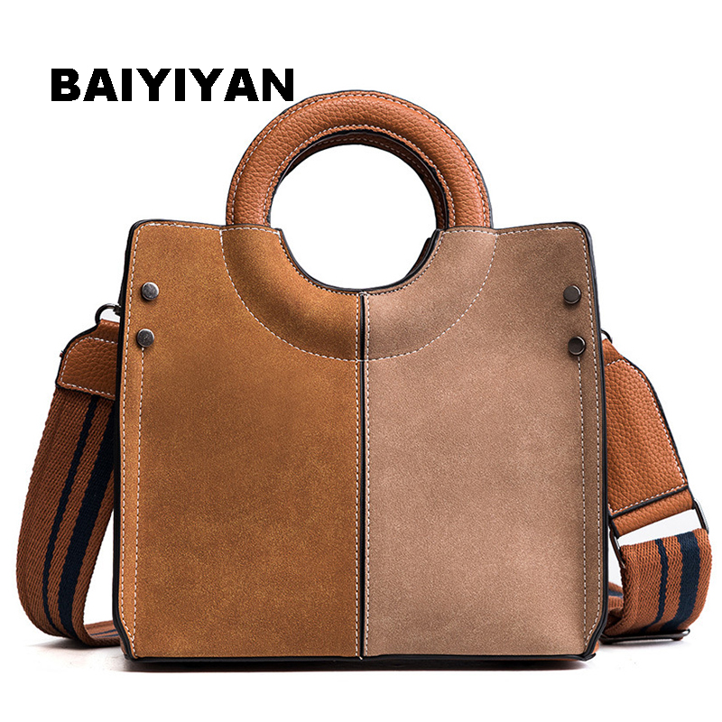 New Fashion 2018 Nubuck Leather Women Bags Small Women Shoulder Bag Casual Crossbody Bag hit Color Women Messenger Bags