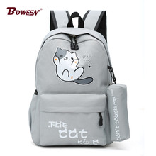Bonito gato meninas mochila sacos de escola para adolescentes sólido náilon estudante volta pacote feminino grande casual bagpack mochila