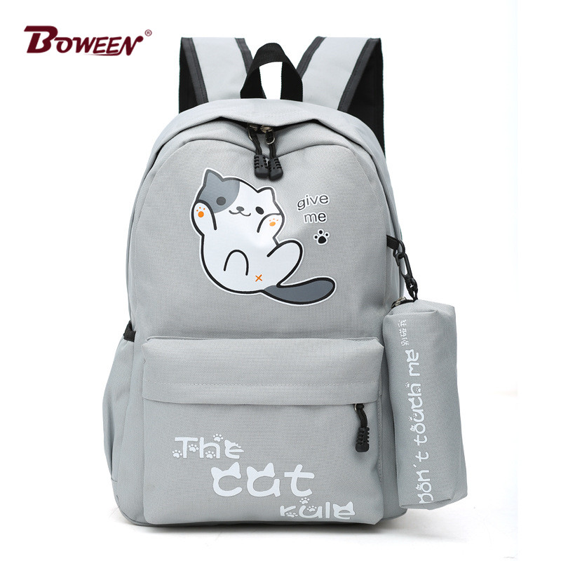 Cute Cat Girls Backpack School Bags For Teenagers Solid Nylon Student Back Pack Women Large Casual Bagpack Mochila