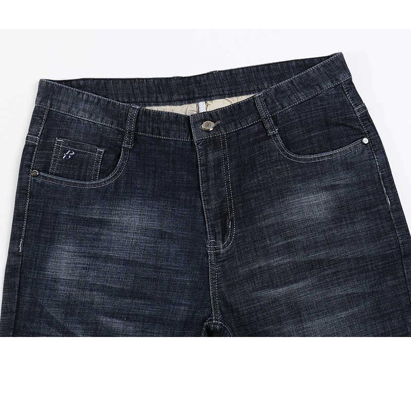 بنطلون جينز رجالي صيفي فائق النحافة مناسب للعمل من القطن مستقيم كلاسيكي أسود مريح بطول كامل بنطلون للرجال من الجينز للرجال