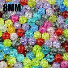 JHNBY Top qualität 100PCs Mixed 8mm Bunte plain Crackle Acryl riss runde Ball Gebrochen Riss Lose perle Armband schmuck DIY