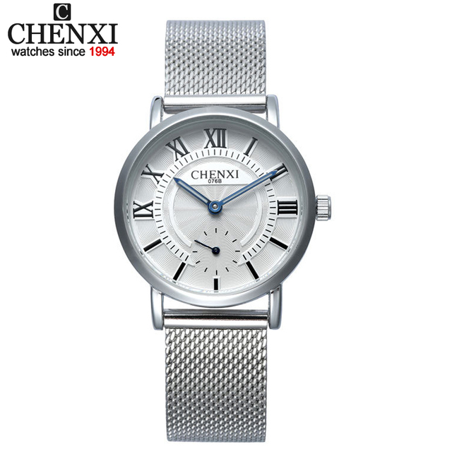 Chenxi hombres de negocios relojes de cuarzo correa de malla de acero inoxidable de los hombres y mujeres amantes del dial número romano reloj de la decoración