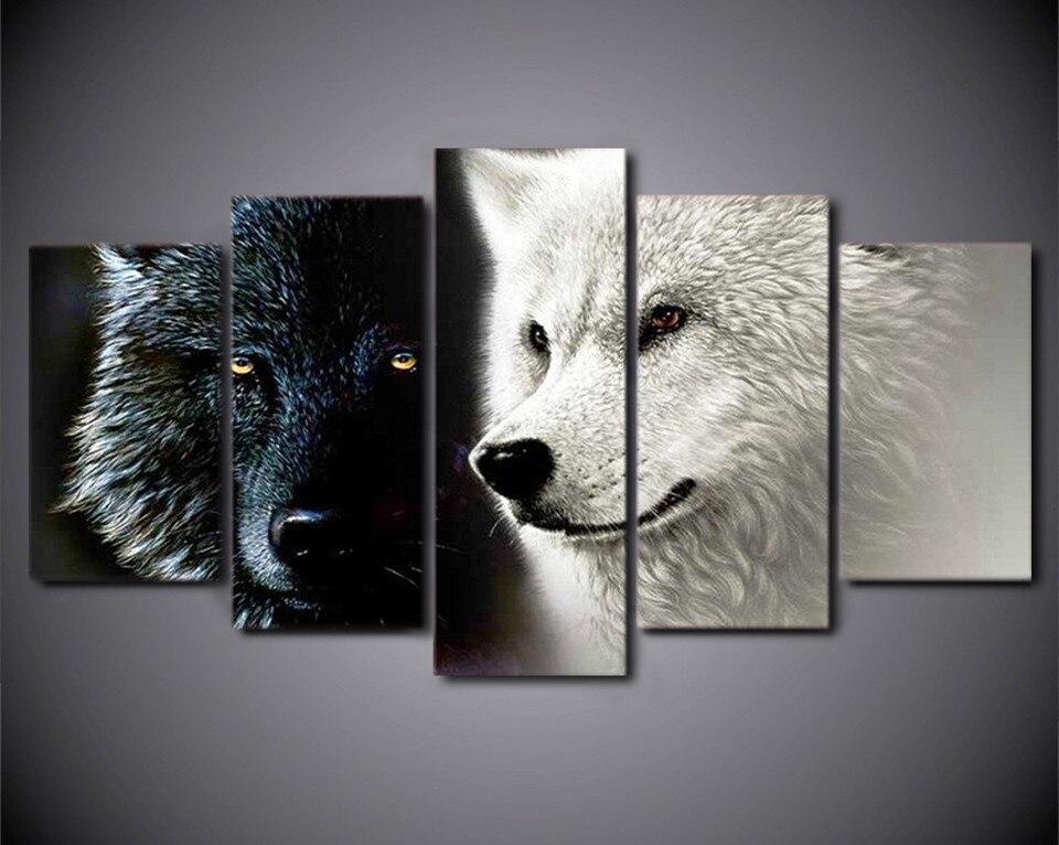 5 Stück Leinwand Kunst Abstrakte Schwarz Weiß Wolf Paar Wandbilder ...