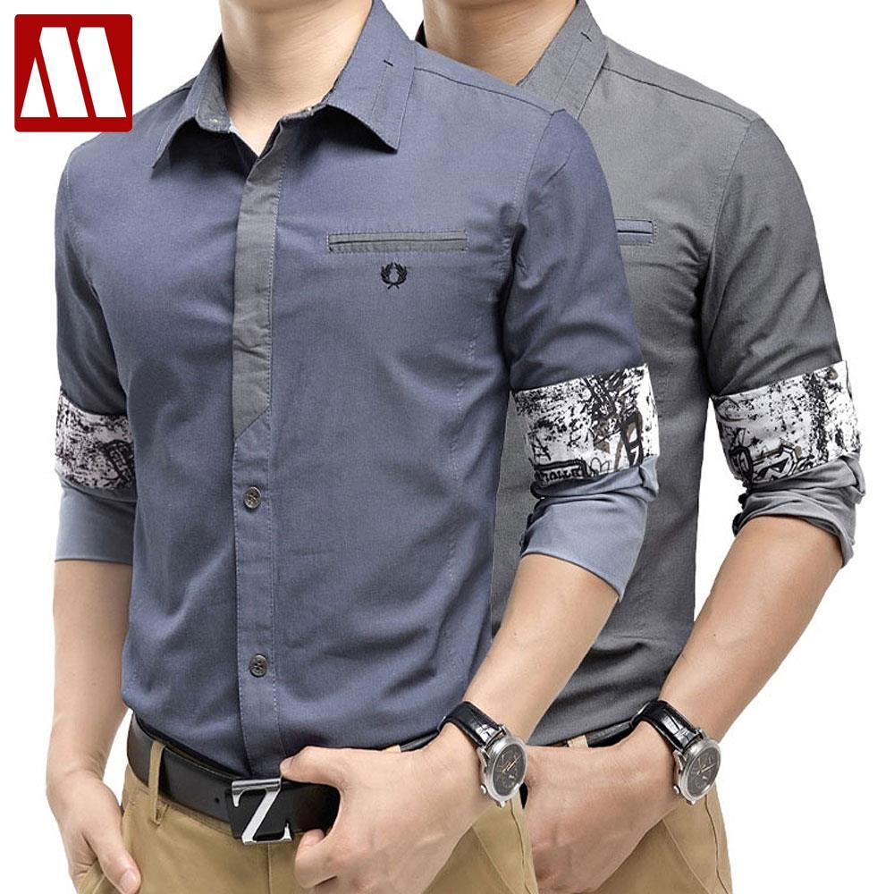 HOT 2016 New Spring Fashion Brand Trend Men Contrast Color Slim Fit Shirts Men Long Sleeve Shirt Mens Casual Shirt Social S-XXXL serok ikan