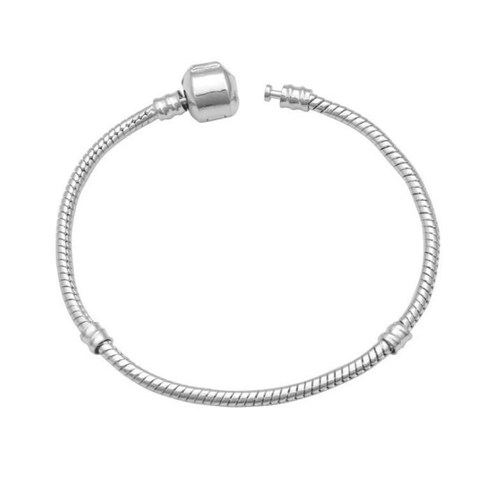 30% PC Wiola Rose Gold Pave Heart Barrel Clasp MOMENTS Smooth Bracelet Fit Snake Chain Bracelet Bangle