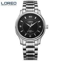 LOREO Quartz Watch Water Resistant 5ATM Black Stainless Steel Fashion Business Diamonds