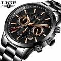 LIGE мужские s часы Топ бренд класса люкс Бизнес Кварцевые часы мужские полностью стальные повседневные водонепроницаемые военные спортивны...