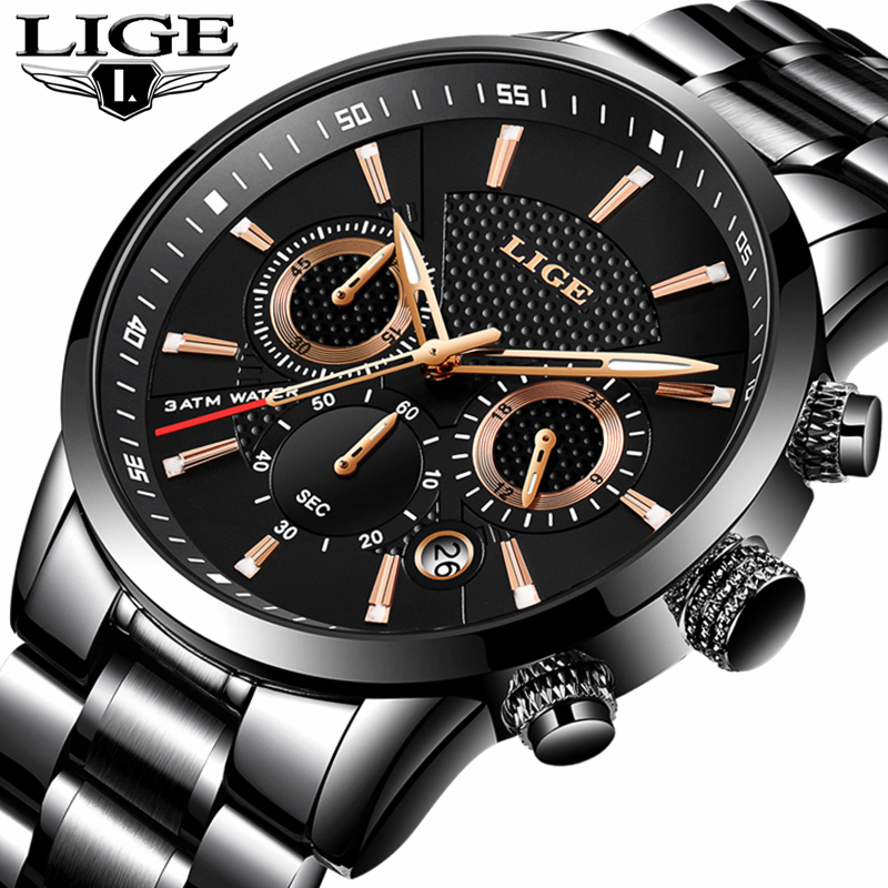 LIGE Mens Watches Top Brand Luxury Business Quartz Watch Men Full Steel Casual Waterproof Military Sport Watch Relogio Masculino 2017 lige brand luxury full stainless steel watch men business casual quartz watches military wristwatch waterproof relogio