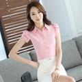Female short-sleeved chiffon shirt 2017 new plus size white chiffon blusas femininas roupas style Office Blouse women top