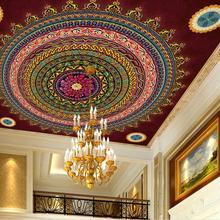 De 3d techo patrón de círculo mandala de pared de papel 3d mural para techo de papel de pared cocina decoración vintage para el hogar 3d techo murales