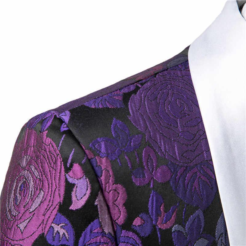 Gwenhwyfar カスタムメイドの高級紫タキシードダブルブレストジャカードメンズは花婿の付添人衣装オム Terno スリムフィット 2 ピース