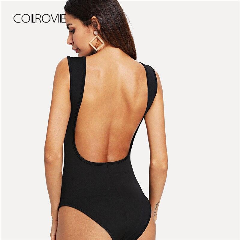 COLROVIE Black Mid Waist Backless Bodysuit Sleeveless Solid Summer Sexy Bodysuit Women 2018 Round Neck Stretchy Skinny Bodysuits