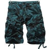 2016 zomer stijl mode merk Casual Shorts cotton Shorts straight losse Zakken Cargo shorts mannen legergroen camouflage