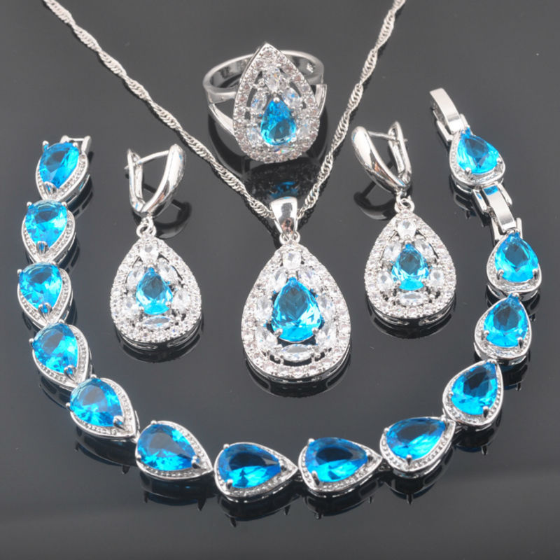 Fahoyo Band Sky Blue Zircon 925 Sterling Silver Women Jewelry Sets Bracelet Necklace