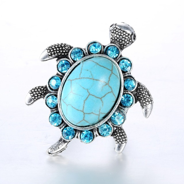 Blue Stone Turtle Ring Mawgie