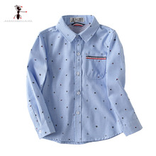 Kung Fu Ant 2019 Spring Printed Anchor Pattern  Casual 100%Cotton Shirts for Boys Full Sleeve 3T-10T School Baby Boy Shirt