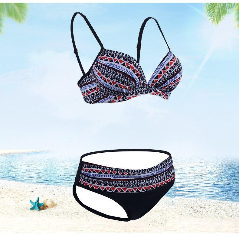 Deux ensemble Bikini 2019 maillot de bain ethnique Triangle Sexy maillots de bain grande taille Bikini Push Up maillot de bain femmes Spa plage