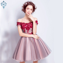 Ameision Pink A-line Cap Sleeve Tulle Lace Flowers Beaded Short Evening Dresses 2019 New Fashion Bride Party Prom Dress