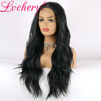 Lvcheryl Long Synthetic Lace Front Wigs Ombre Dark Grey Hair Wigs Natural Wave High Temperature Fiber Hair Wigs for Women