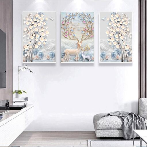 Modern Simple Relief European - Style Abstract Fortune Tree Nordic Decorative Painting 3 Panels Canvas Oil Picture Wall Artwork