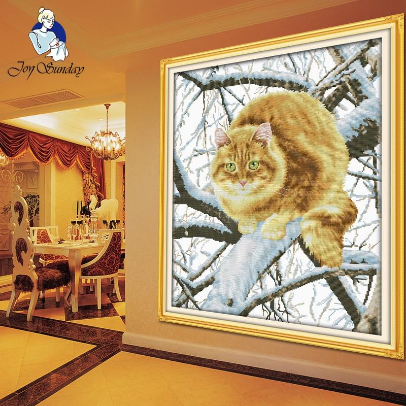 JOY یکشنبه ، سوزن دوزی ، بخیه DIY DMC کراس ، مجموعه ای برای کیت گلدوزی گربه چربی در دکوراسیون منزل درخت شمارش صلیب متقاطع