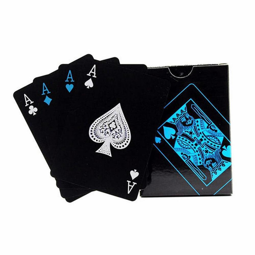 Quality Waterproof PVC Plastic Playing Cards Set Trend 54pcs Deck Poker Classic Magic Tricks Tool Pure Black Magic Box packed in Playing Cards from Sports Entertainment