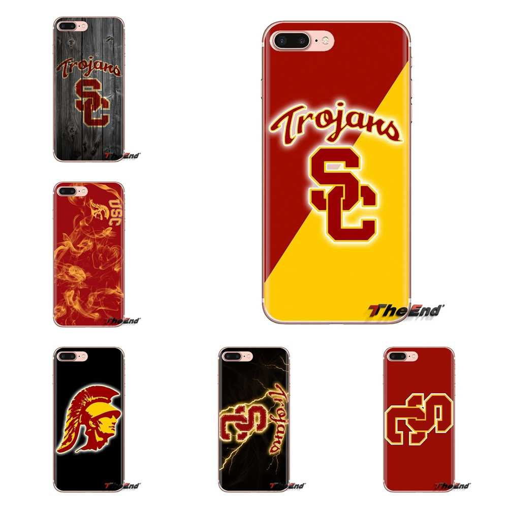 Voor iPod Touch Apple iPhone 4 4 S 5 5 S SE 5C 6 6 S 7 8 X XR XS Plus MAX Siliconen Telefoon Cover Bag USC Trojans logo College Voetbal