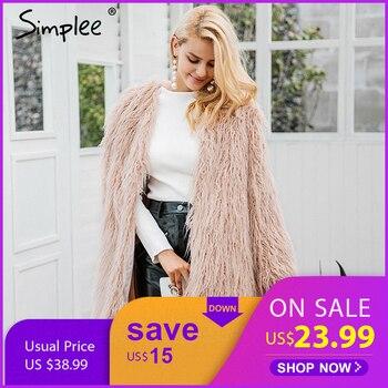 Simplee пушистое длинное пальто с искусственным мехом Женское зимнее пальто с искусственным мехом уличная розовая куртка Женская мода цветные...