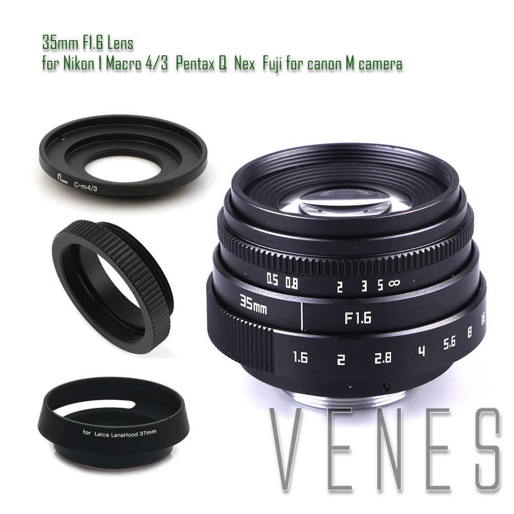 Мини 35 мм f/1,6 APS-C ТВ Объектив + бленда + макрокольцо + C к адаптеру камеры для Nikon 1 Micro 4/3 для CanonM Pentax Q Nex Fuji