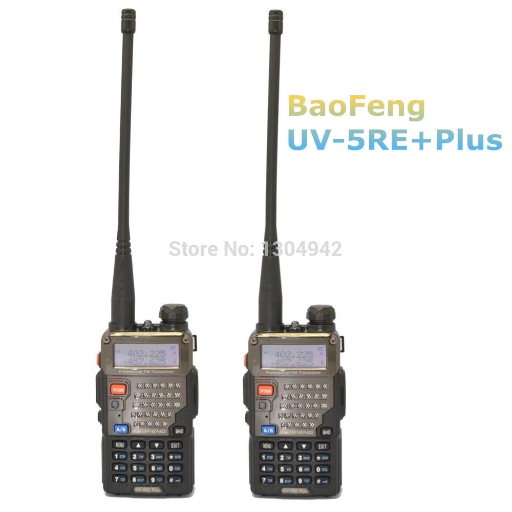 2 PCS BaoFeng Walkie Talkie UV 5RE Plus Black Dual Band Two Way Radio 136 174