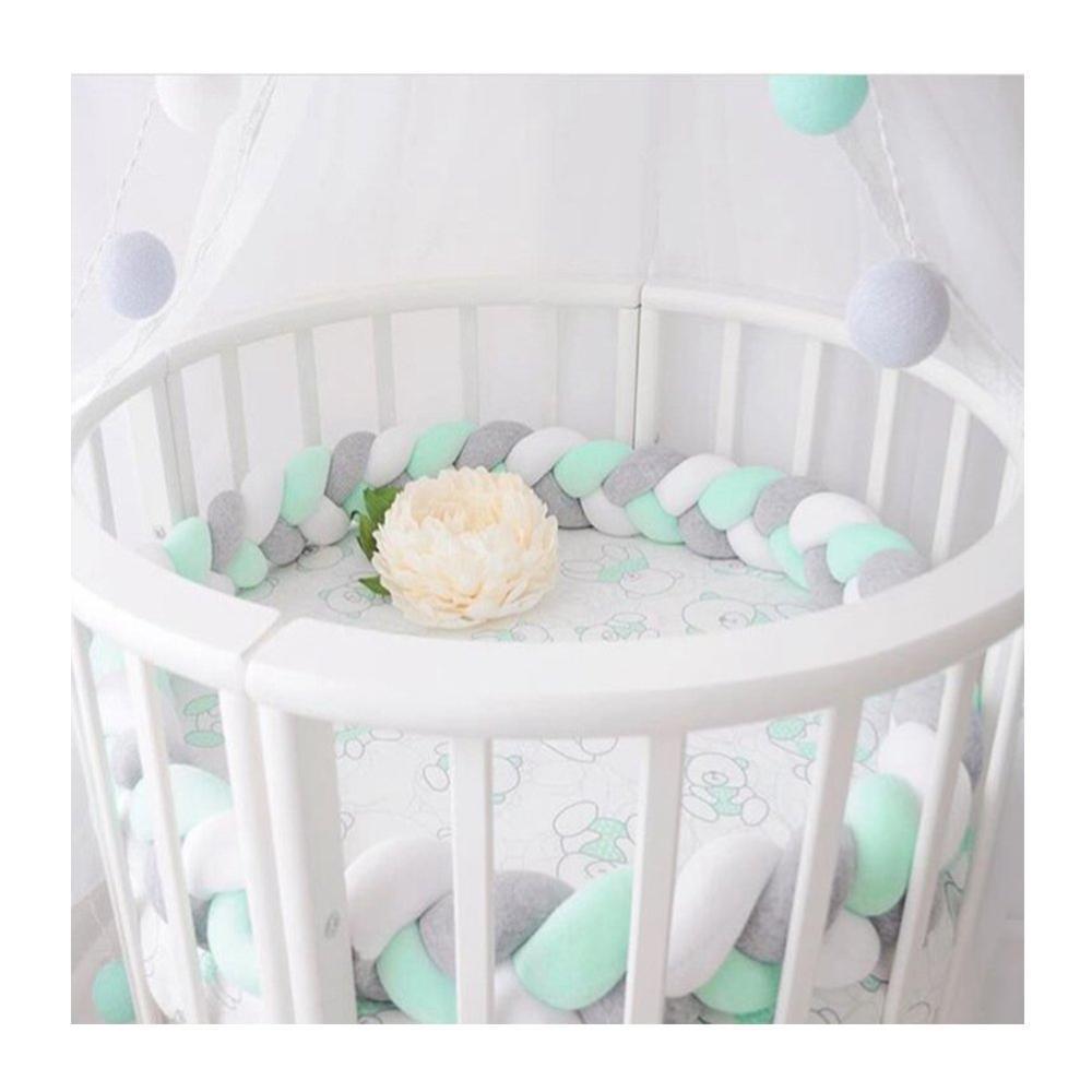 Длина 200 см, высота 12 см, одноцветная детская мягкая подушка, плетеная детская кроватка, бампер, подушка с узлом, подушка, колыбель, декор для маленьких девочек и мальчиков - Цвет: white gray green