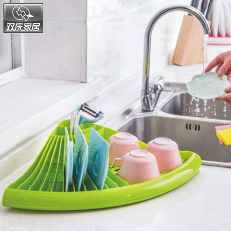 Dish rack kitchen useful space organizer plastic dish plate holder2016 fashion cup storage drain board dish shelves