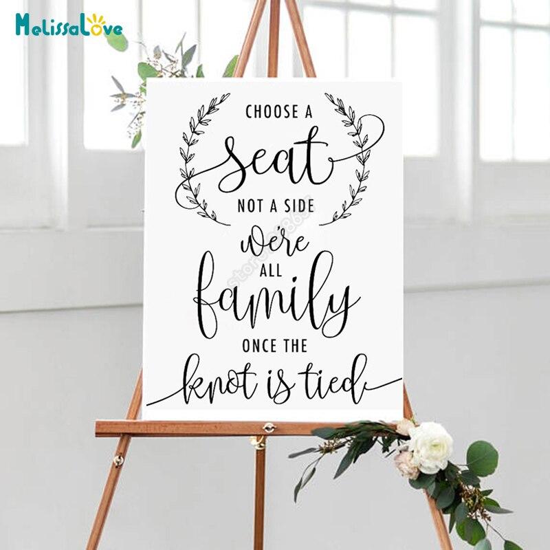 DIY elegir un asiento no de un lado, boda etiqueta engomada del tablero todos somos familia, una vez el nudo atado boda recepción señal B765