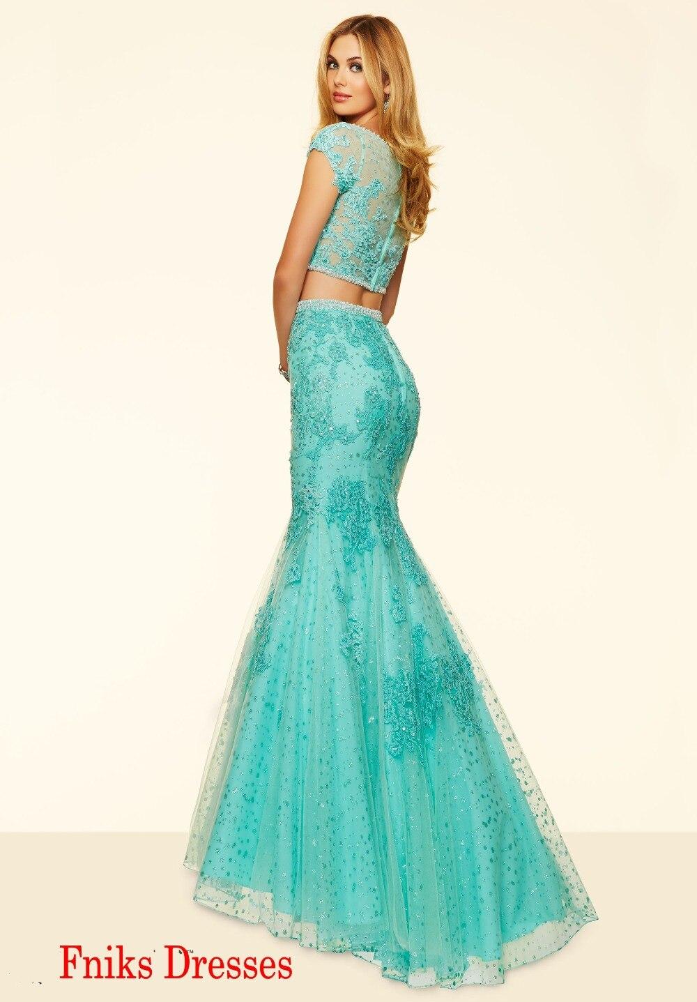 c6336312c Dos pedazos largos de la sirena vestidos fiesta 2016 vestidos elegantes  verde menta Appliques del cordón con encanto corto Cap manga vestido de  fiesta para ...