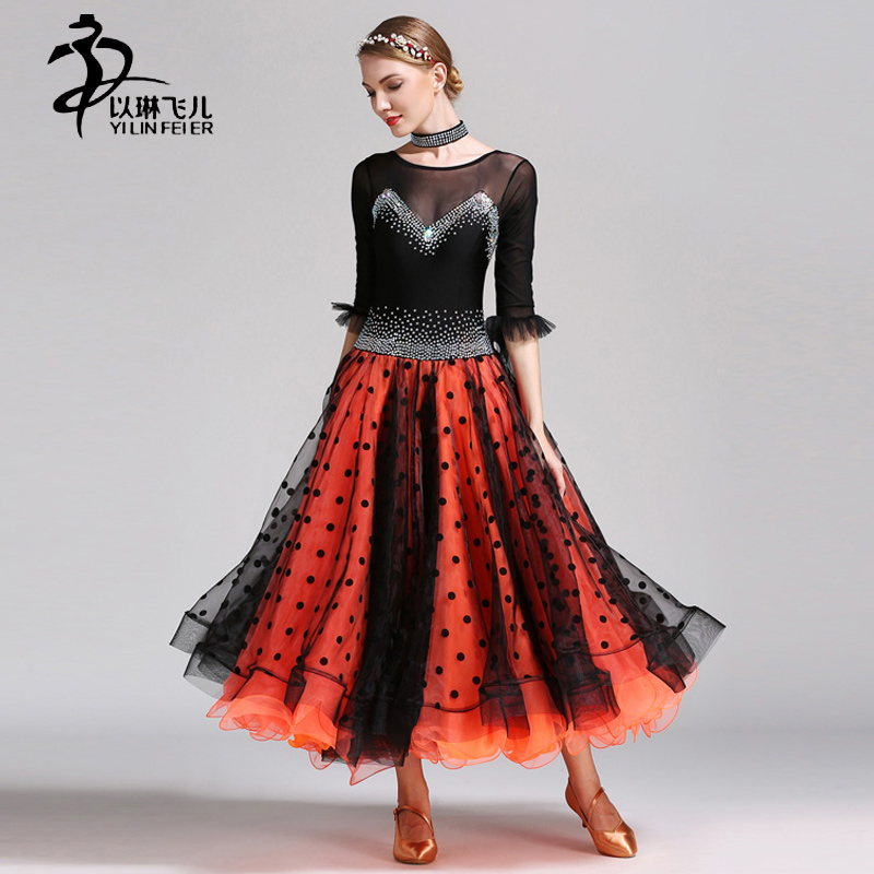 High-end Lycra Fabric Modern Waltz Dance Competition Dresses Women Ballroom performance Skirts Tango Standard Costumes