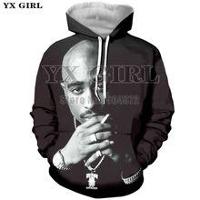 Drop Shipping Harajuku Mens 3D Print Hoodie 2pac tupac Hoodies Men Sweatshirt Long Sleeve Thug Life Tupac Shakur Tracksuit Tops