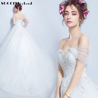 Sexy Organza Cap Sleeve Sweetheart Lace Appliques Wedding Dress 2016 Chapel Train Pearls Crystal Beading Princess