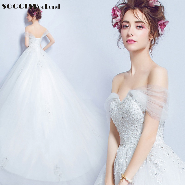 a79e50304e62 SOCCI Sexy Organza Tulle Lace Appliques Wedding Dress Cap Sleeve Sweetheart Princess  Bride Dresses Pearls Crystal Beading gowns