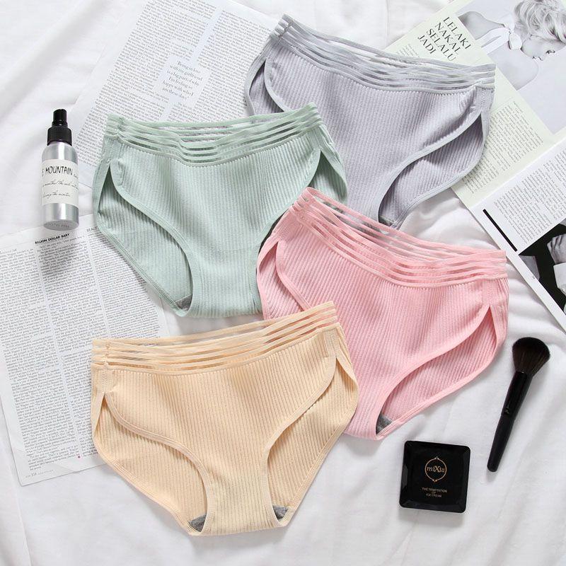 Buy Cotton Underwear Mid-Rise Solid Elastic Brief Sexy Womens Panties Women's Comfortable Panties Girls Female Briefs