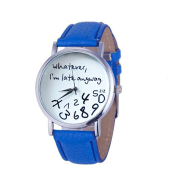 10 Barvy Hodinky Příležitostné hodinky pro ženy Vše, co jsem pozdní Tisknout Kožené Alloy Quartz Náramkové hodinky Montre Femme