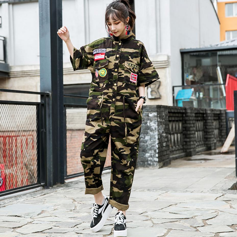 2018 summer new street bf students loose casual cloth jumpsuit female high waist military camouflage ankle-length bodysuits L700