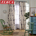 Modern Red/Grey Leaves Printed  Faux Linen Curtains for Living Room Bedroom Sheer Voile Curtains Window Drapes Custom Made